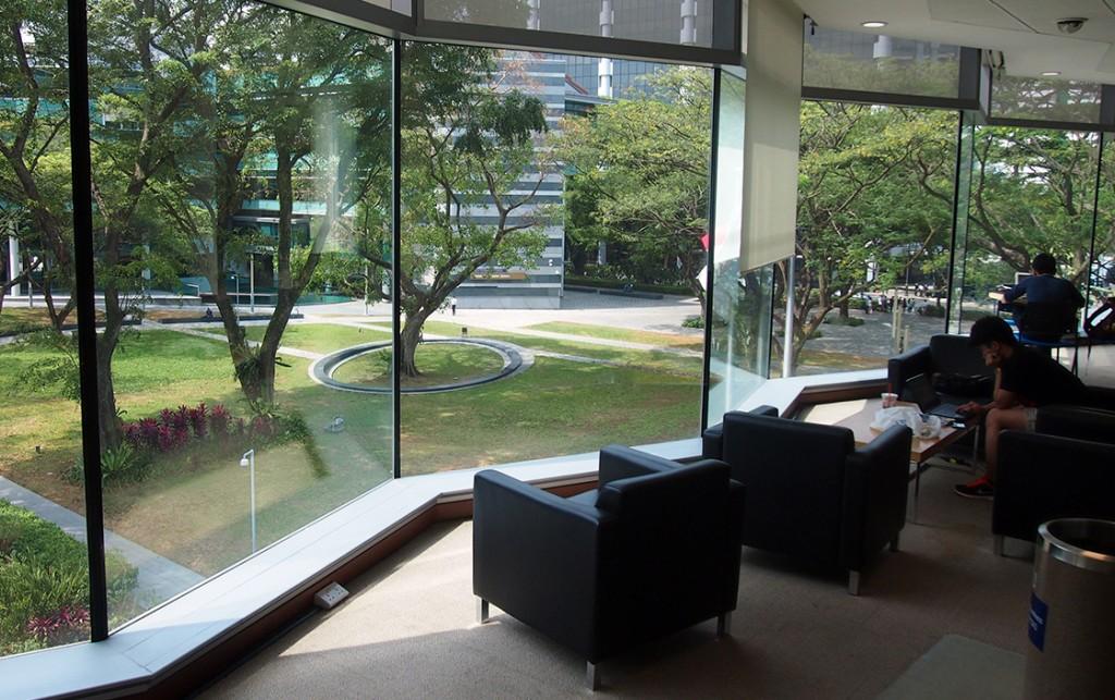 SMU Li Ka Shing Library: View of the Campus Green