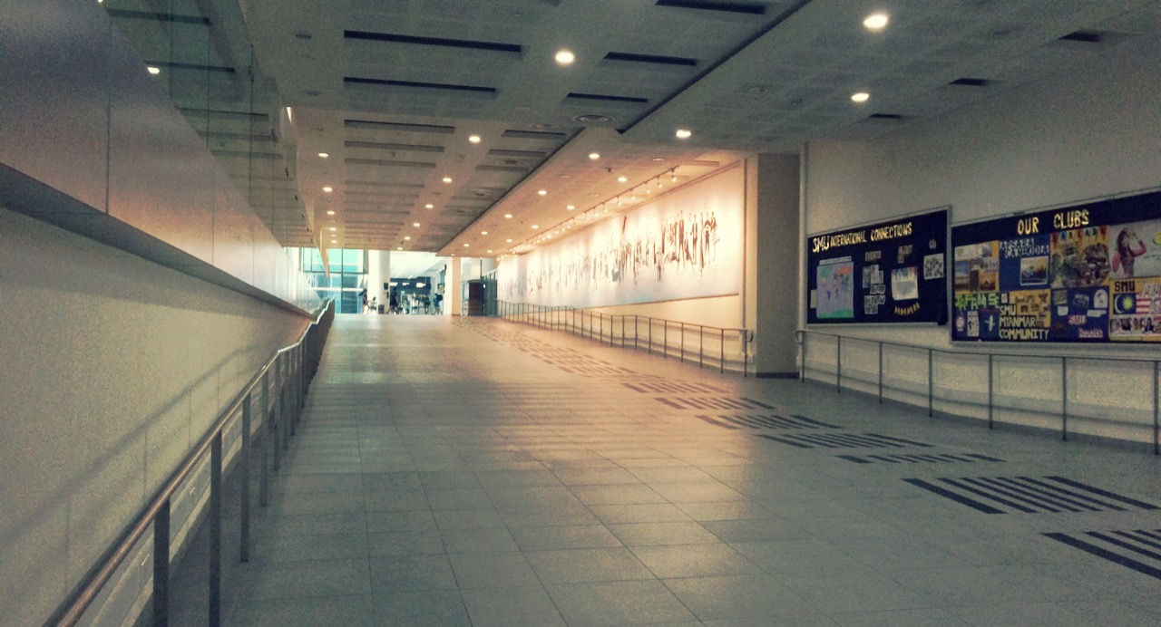 One of the rare moments when the SMU underground concourse isn't teeming with student life