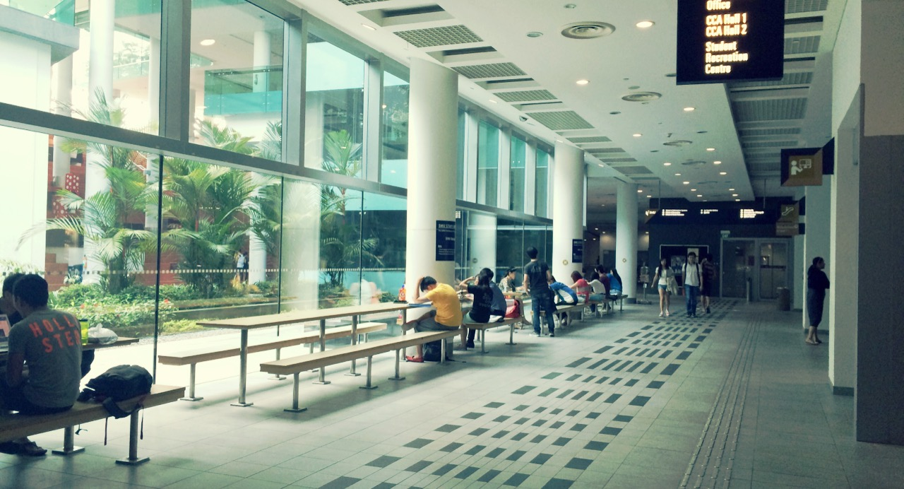 Students studying along the SMU underground concourse