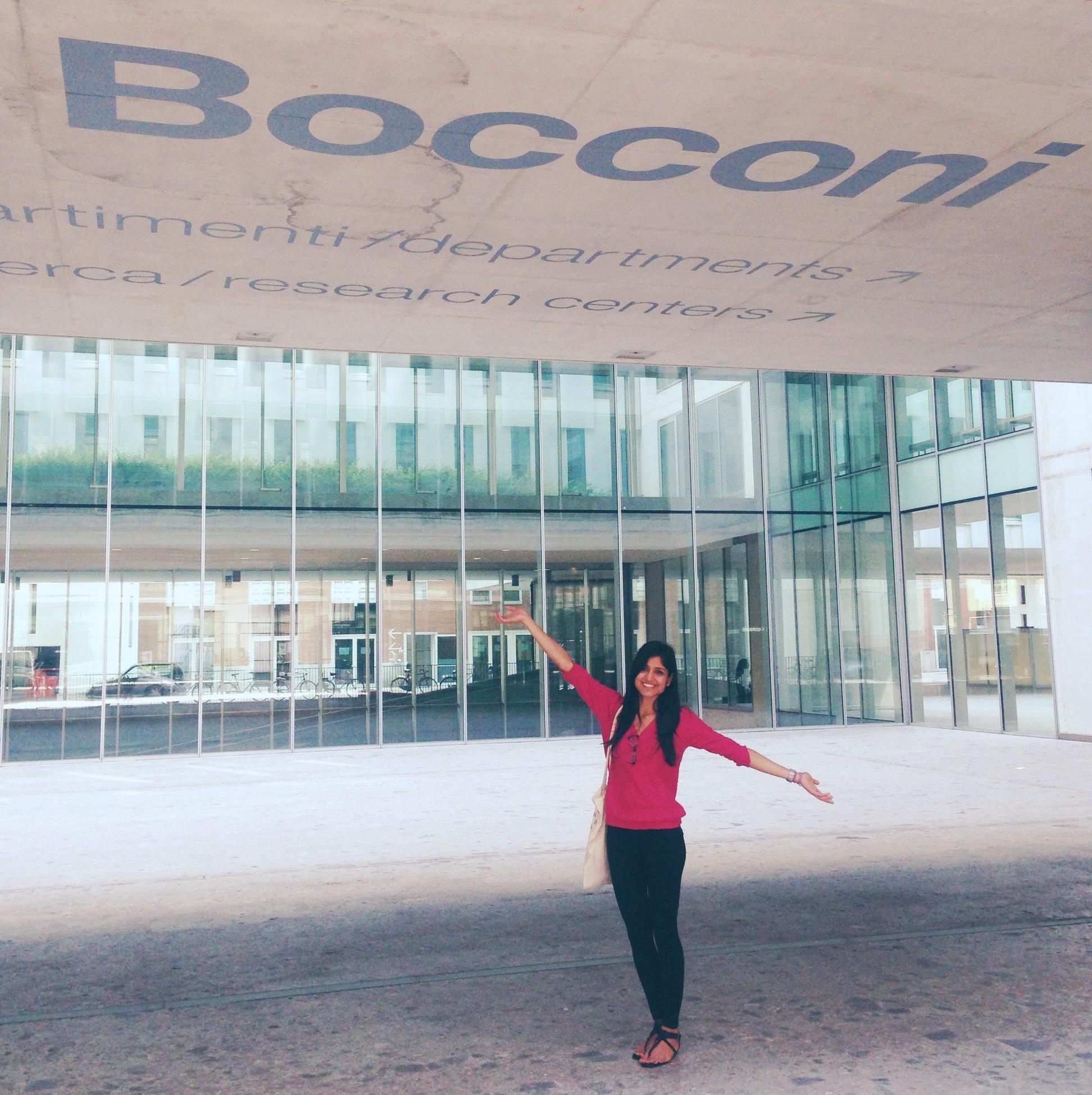 Sadhvi at Bocconi University campus