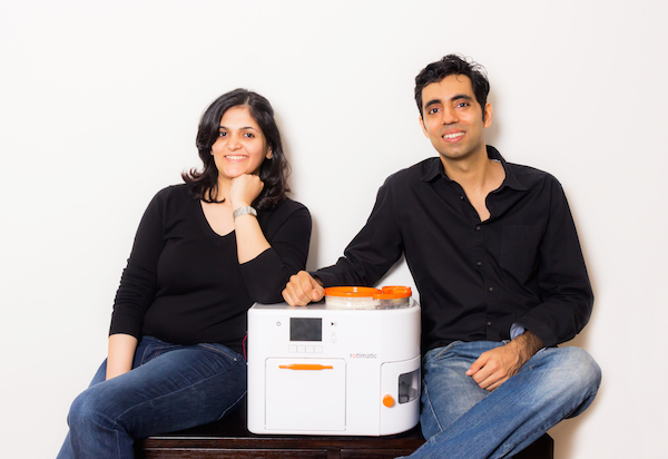 Pranoti Nagarkar and Rishi Israni with their Rotimatic machine