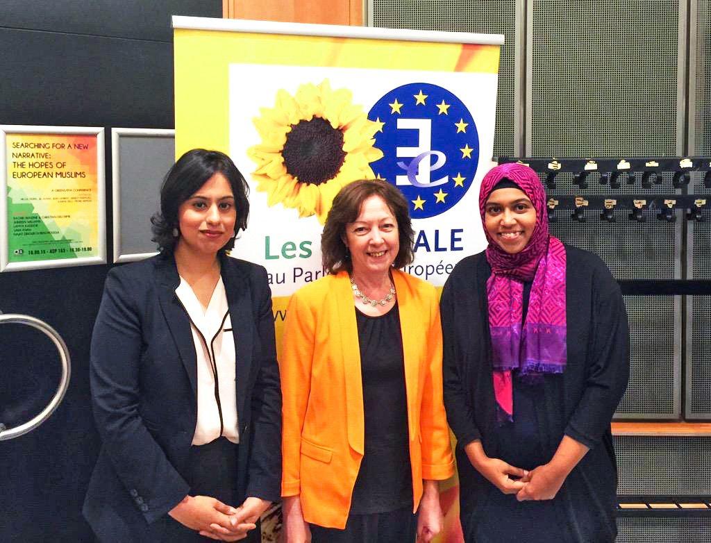 Shereen with Sara Khan (left) and MEP Jill Evans (centre).