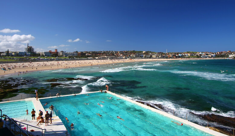 Bondi Beach in Sydney, Australia on a summer's day