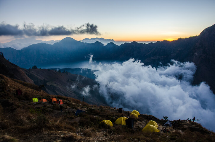 Watching sunset at camp before attempting to summit Mount Rinjani the following morning.