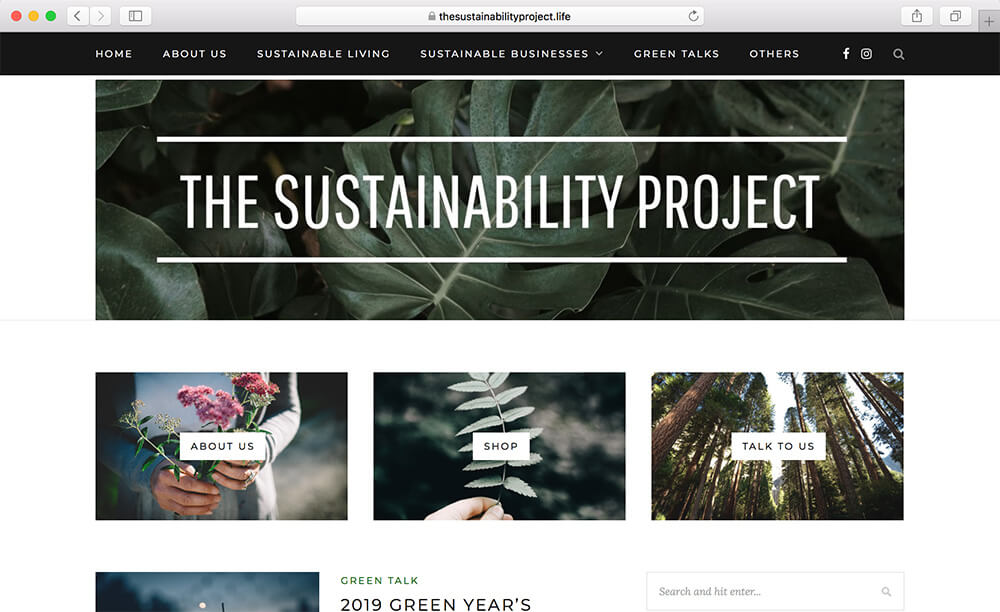 Sustainability Project website