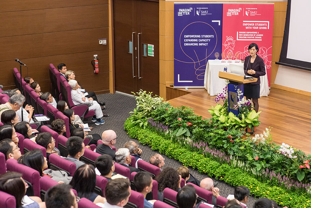 Prof Wang Heli speaking at the inaugural Janice Bellace Professorship Lecture
