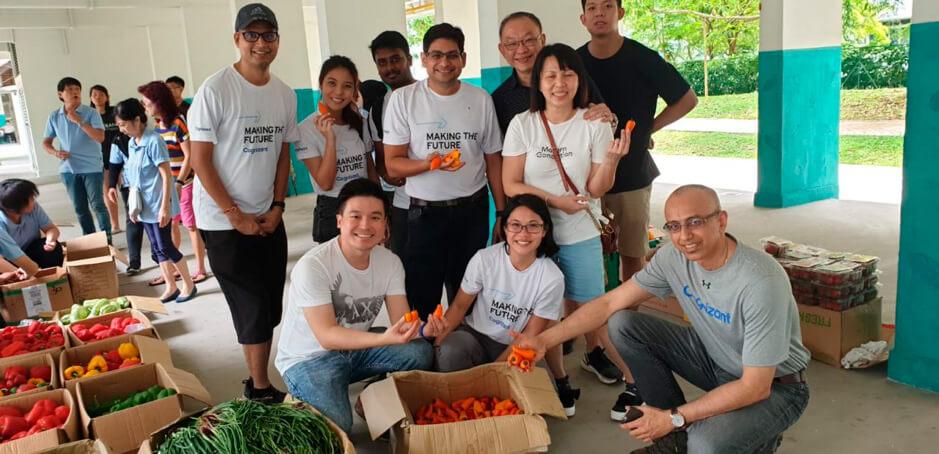 With Cognizant volunteers