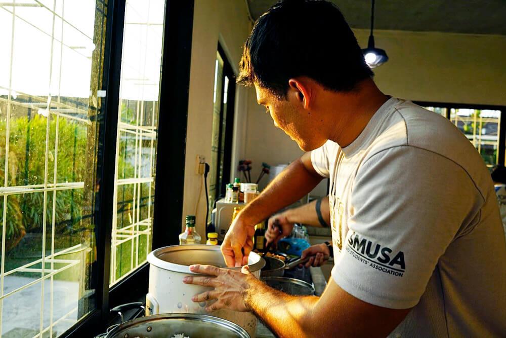 Preparing rice for dinner