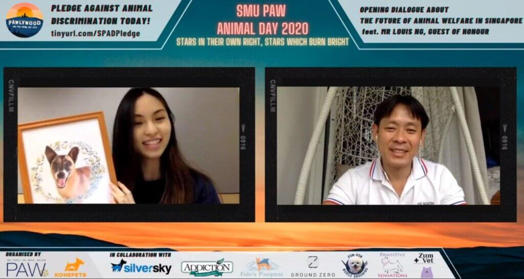 MP Louis Ng (right) shares with Jean his hopes about the future of animal welfare in Singapore at the opening of SPAD2020