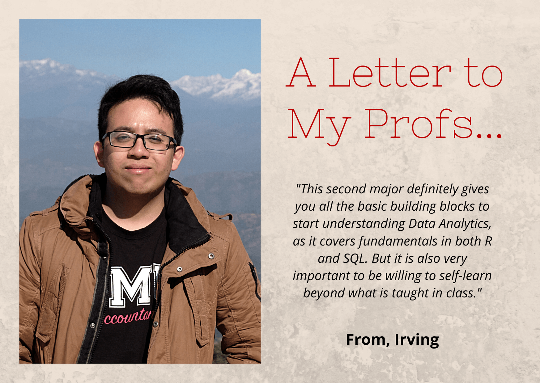 A letter to his profs on his second major in accounting data and Analytics
