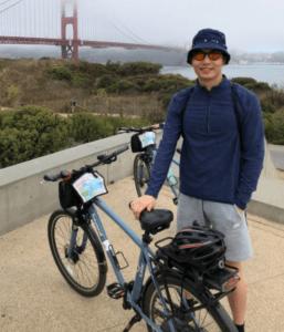 Brandon Ong on a cycling trip.