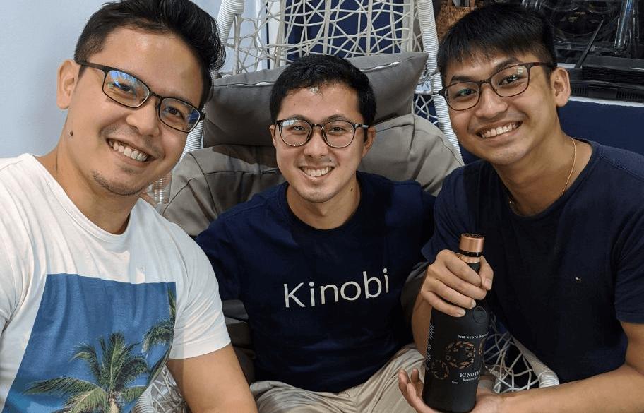 Benjamin (centre) with his Kinobi co-founders